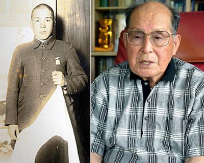写真:左:出征する直前の浜本 ...