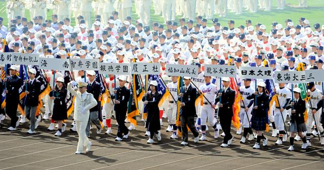 開会式で一斉に行進する選手たち=21日午前、阪神甲子園球場、井手さゆり撮影