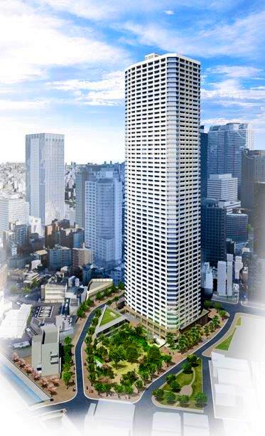 タワーマンションの完成予想図=西新宿5丁目中央北地区市街地再開発組合提供