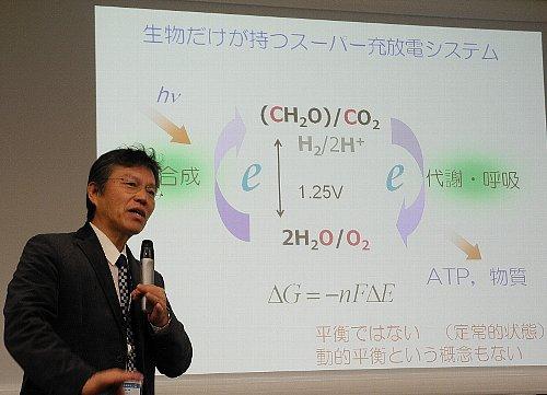 光合成と代謝・呼吸によって充電・放電する生物の仕組みを解説する加納教授