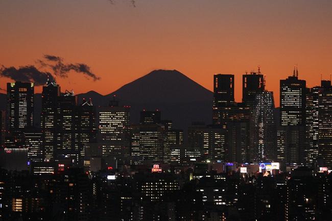 写真 新宿のビル群と富士山のシルエット