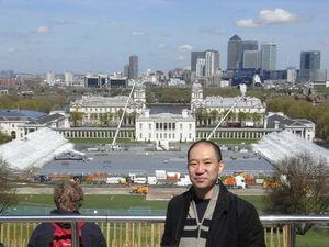 オリンピック会場となる「グリニッジパーク」を後方にのぞむ。ロンドンオリンピック開幕へカウントダウン84日目の日に撮影した=山嵜一也さん提供