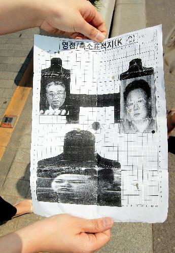 故金日成主席と金正日総書記、後継者とされる正恩氏の顔写真を用いた射撃訓練の標的=ロイター
