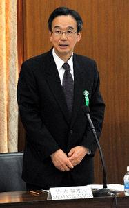国会原発事故調査委で参考人として発言する松永和夫・前経済産業事務次官=16日午後、国会内、仙波理撮影