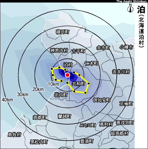 泊原発の放射性物質拡散予測図