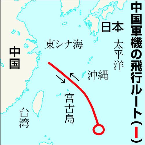 図:中国軍機の飛行ルート 朝日新聞デジタル:中国軍機、南西諸島上空を通過 空自がスクランブル -
