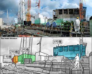 事故を起こした福島第一原発1〜4号機。4号機を中心に廃炉作業が進められていた(8枚の写真をつなぎ合わせています)=20日午後0時28分、福島県大熊町、山本壮一郎撮影