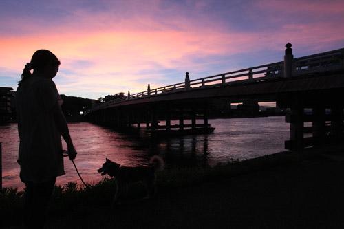 写真:夕闇に沈む瀬田唐橋。擬宝珠がシルエットになって浮かび上がる=塚原紘撮影