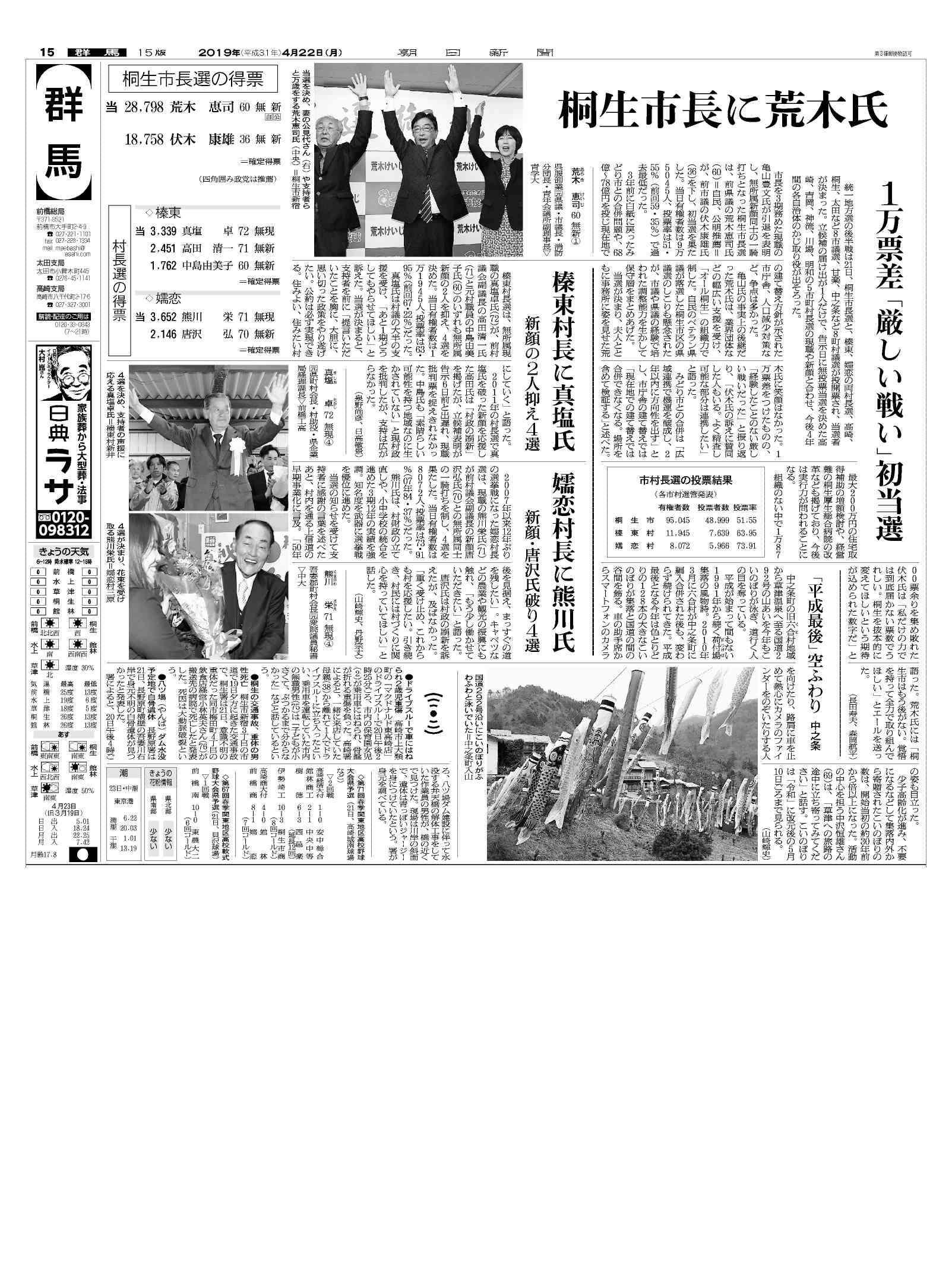 統一地方選挙 群馬-紙面イメージ